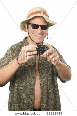 Middle Age Senior Tourist Male Digital Camera