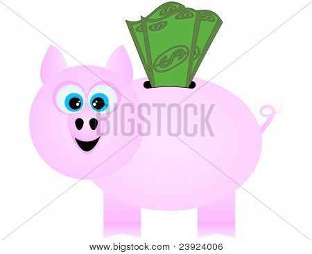 A Happy Piggy Bank Receiving Dollar Bills