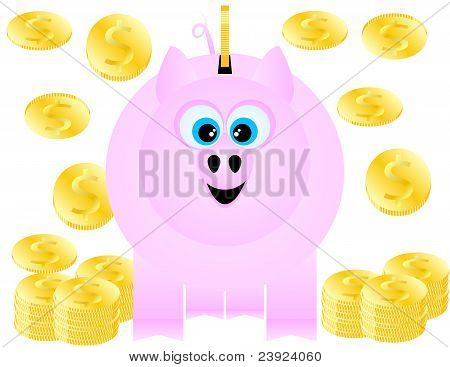 A Piggy Bank Happily Receives Gold Coins