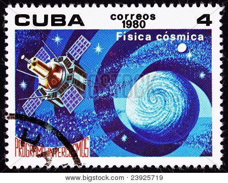 Cuban Postage Stamp Satellite Studying Earth Astrophysics Outer Space Intercosmos
