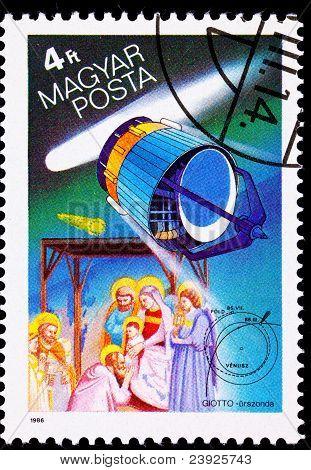 Hungarian Postage Stamp Giotto Spacecraft Halley's Comet, Adoration Magi Wisemen