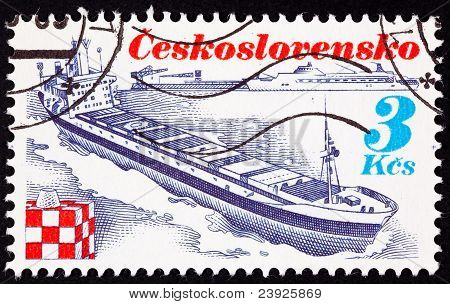 Canceled Czechoslovakian Postage Stamp Czech Container Ship Trinec Bow Wave