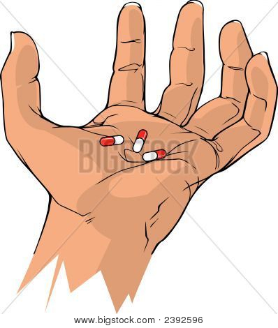 Tense Hand With Capsules