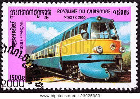 Canceled Cambodian Postage Stamp Le Pendule Francais, 50S Diesel Engine