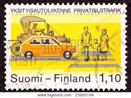 Postage Stamp Traffic Safety Crosswalk Old New Car