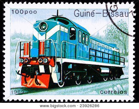 Canceled Guinea-bissau Train Postage Stamp Old Railroad Diesel Engine Locomotive