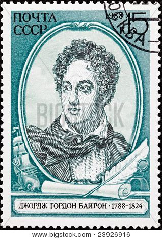 Soviet Russia Postage Stamp British Poet Lord Byron, Ship