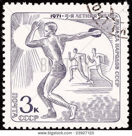 Russia Postage Stamp Track Field Discus Race Man