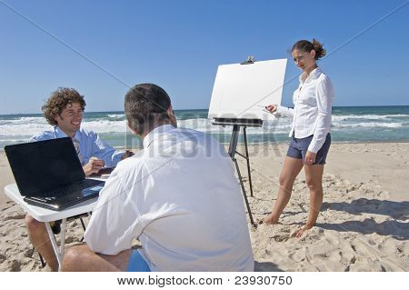 Business Meeting On The Beach
