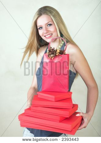 Blond Woman With Red Gift