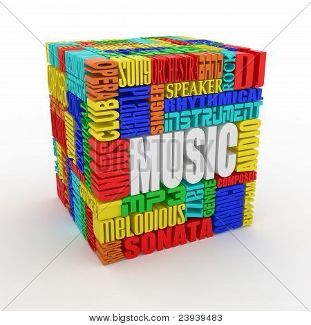 Music. Abstract Cube.