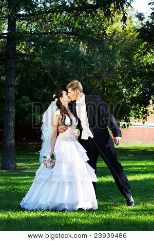 Romantic Kiss Bride And Groom At Wedding Walk In Park