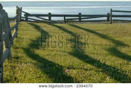 Fence Shadows At Sunrise