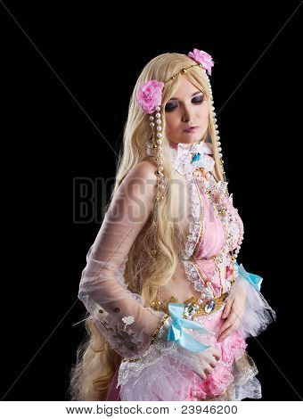 Young girl in fairy-tale doll cosplay costume