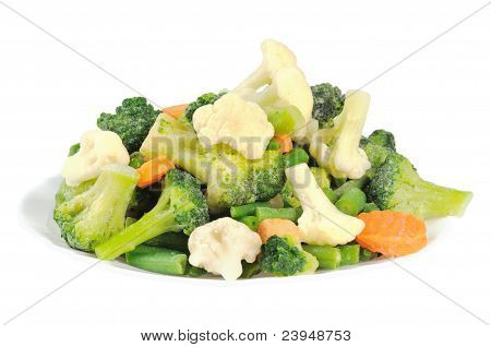 Cauliflower, broccoli, carrots and beans