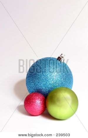 Three Baubles; Blue Red, Green