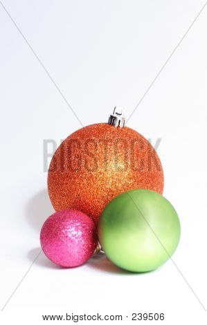 Baubles In Orange, Pink And Green