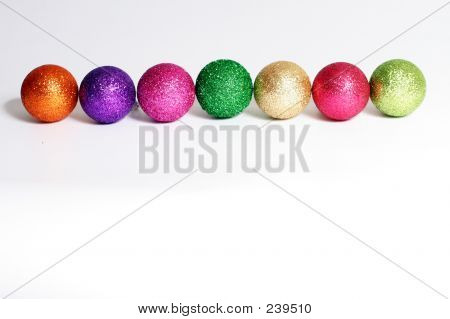 Row Of Glittery Baubles