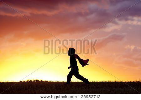 Little Boy Runs Along.