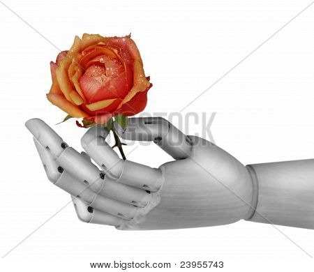 Robot Hand Holding Rose