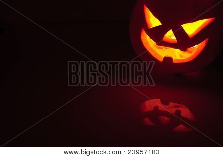 Glowing Pumpkin With A Candle Inside