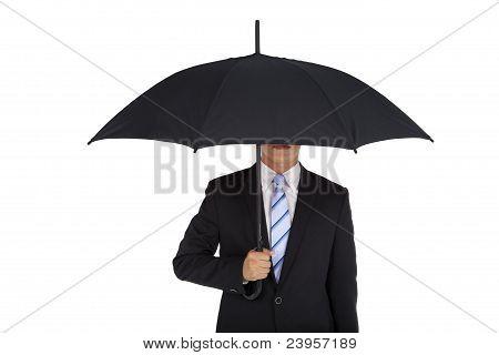 businessman holding black umbrella Isolated on white background