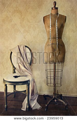Antique dress form and chair with vintage look