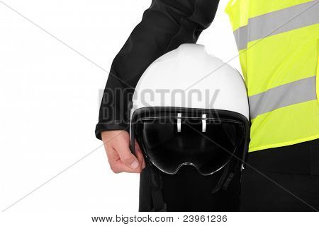 A picture of a firefighter and his helmet against white background