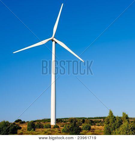 aerogenerator windmill in sunny blue sky day