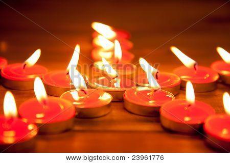 christmas candles pentagram star on golden warm wood