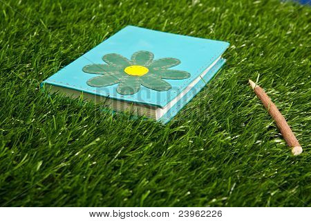 Notebook in the grass