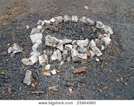 Campfire With Round Stone Border