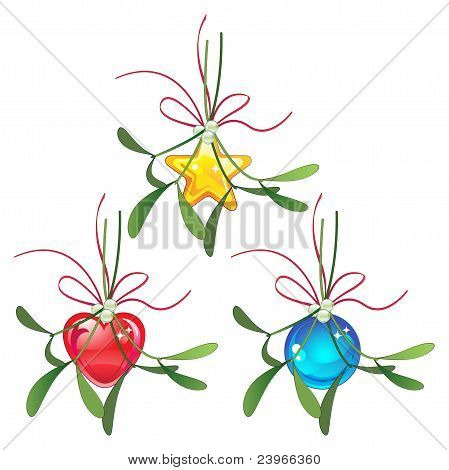 Mistletoe and Christmas bauble set