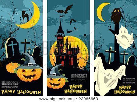 Set vertical Halloween banners