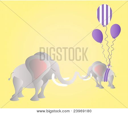 Big elephant and small elephant with party balloons