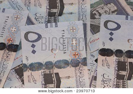 Wads of 500 Saudi Riyals Banknotes