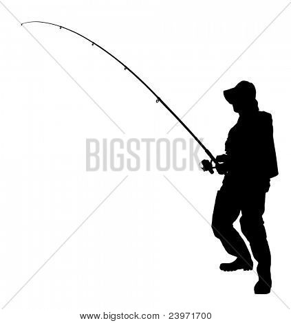A silhouette of a fisherman holding a fishing pole isolated on white background
