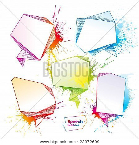 Set Of Hand Drawn Speech Bubbles With Drops And Spray On A White Background. Vector Illustration.