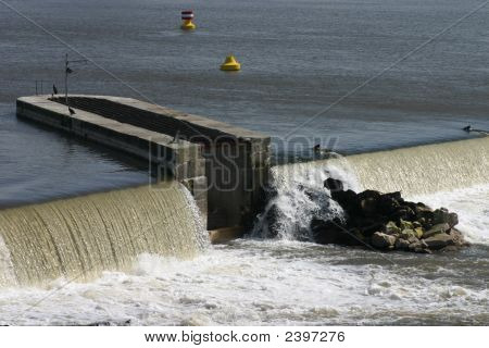 Barrage In The River Weser In Germany Near Hameln