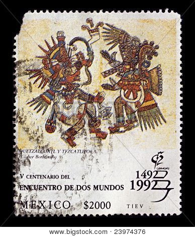 MEXICO-CIRCA 1992:A stamp printed in Mexico shows image of Quetzalcoatl und Tezcatlipoca illustration aus dem Codex Borbonico, circa 1992.