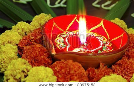 Vivid Colours Diwali Marigolds Diva Candle Lamp