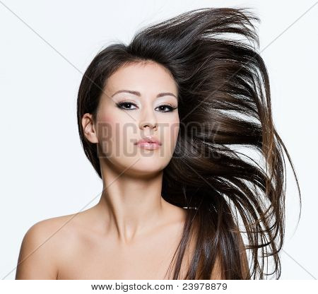 Beauty Female With Beautiful Long Brown Hairs
