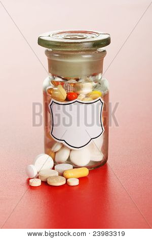Chemical Bottle With Colorful Pills