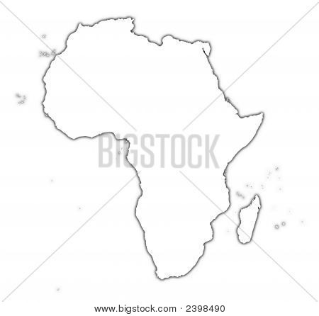 Africa Outline Map With Shadow
