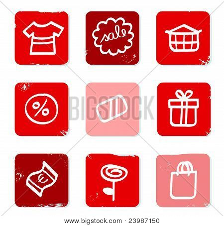 Venda retro e ícones de compras para Eshop isolado no branco.