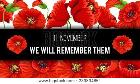 Remembrance Day Lest We Forget 11 November Greeting Banner Or Card