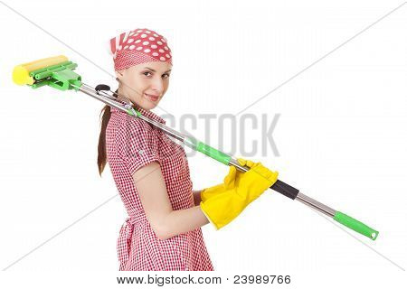Charwoman with mop on white