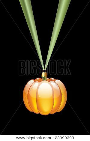 A pumpkin Christmas style glass bauble hanging on a green ribbon. Isolated on black. Alternative Halloween or Thanksgiving decoration. Also available in vector format.
