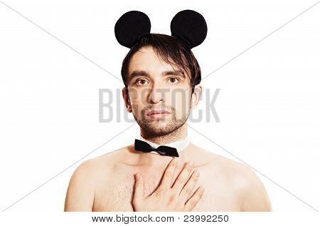 Man With A Sham Mouse Ears On White Background