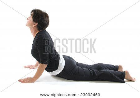 Female Yoga Position Cobra Elbow Press